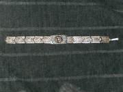 Красивый,  серебренный,  старый (клемо 84) браслет,  с гранатами,  кавказс